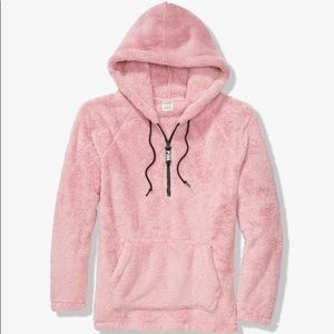 VS PINK teddy half-zip pullover